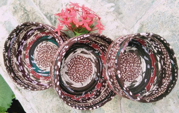 Special Sale: Storage Baskets, Cluster of 3, upcycled, multi-colour, for organizing  home decor now at 650 rupees handmade