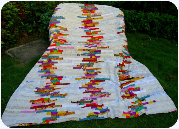 Special Sale:  Duvet Cover or Doona,Made to Order: - White, Red, Blue, Orange---Bold & Exciting Patchwork  Queen size