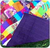 Quilt Made to Order:   SPECIAL 12% DISCOUNT SALE: Duvet Cover in Rainbow Colors---Match Up Design, Bold & Exciting Patchwork Matching backing Doona Queen size
