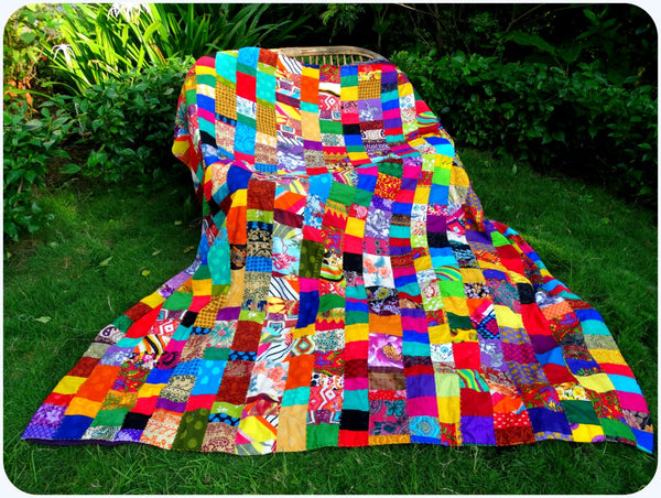 Special Sale : Quilt Made to Order or Duvet Cover in Rainbow Colors --- Match Up Design, Bold & Exciting Patchwork Matching backing Doona Queen size