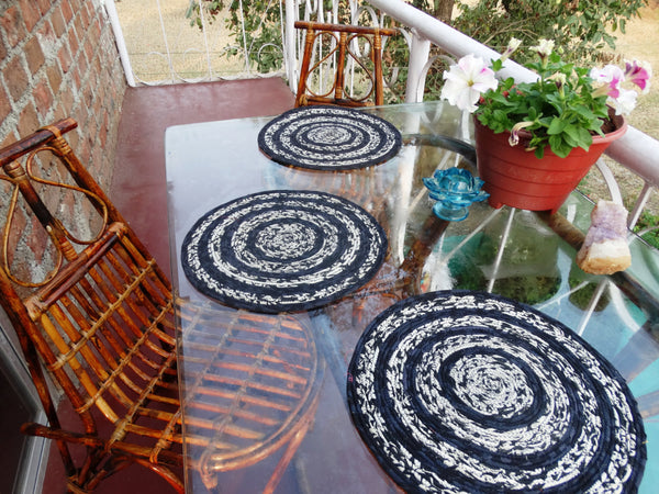 Placemats & Coasters, Black & White,  Set of six,  Hand made with Indian Upcycled Cotton Fibers
