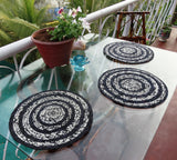 Black & White Placemats Coasters  Hand made with Indian Cotton Fibers Set of six