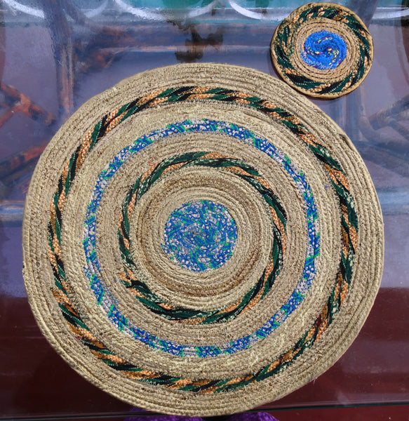 "Placemats & Coasters, Golden  Colors, 13""  Set of 6,  Hand made with Indian Cotton Fibers"