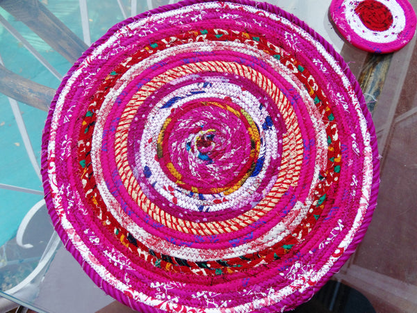 Placemats for Valentines' Day:  Candy-Pink & White  Coasters in Basket, Set of six
