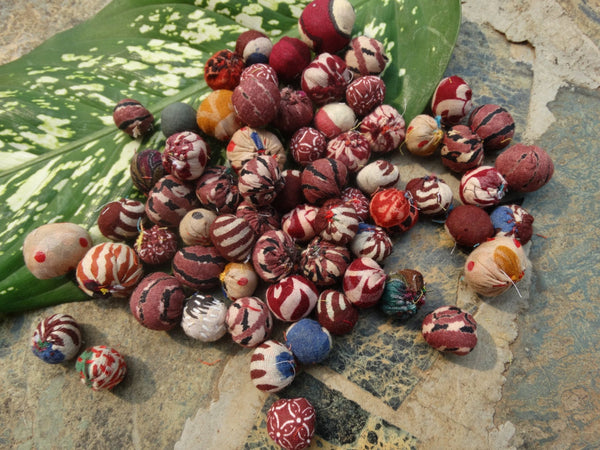 Fabric Beads, 75 Beads in 3 Sizes, Assorted Upcycled cotton  Indian Fabrics, Harmonic Earth Tone Fabrics