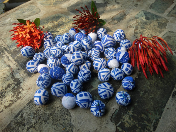 Cloth Cotton Beads,  Upcycled Indian Fabric, 54 Beads of Three Sizes, Assorted Medium Blue & White Fabrics