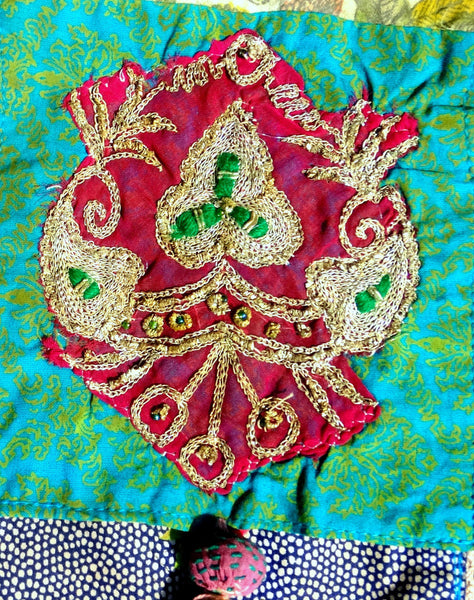 Phone Pouch: Boho Vintage, of Recycled Indian Sarees & Lace, Overdyed, turquoise magenta beige