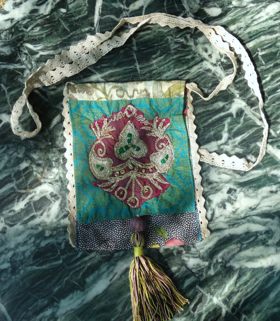 Boho Vintage Phone Bag of Recycled Indian Sarees & Lace, Overdyed, turquoise magenta beige