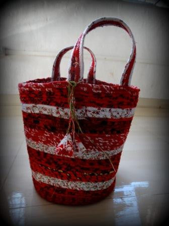 Tote:  X SMALL Basket Purse with Tassel
