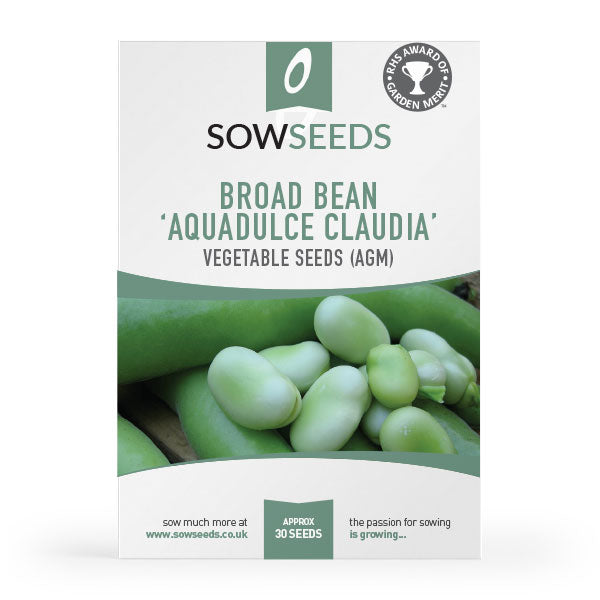 Broad Bean Aquadulce claudia vegetable Seed Packet