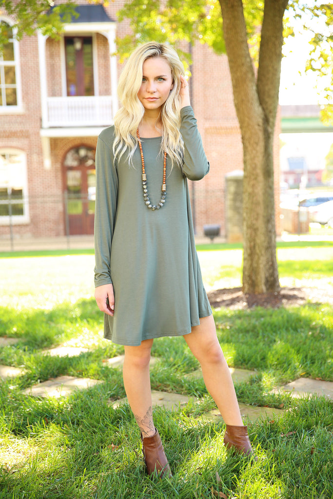 Piko Trapeze Dress - Army , shirt - LOVE JUNE, Love June Boutique  - 1