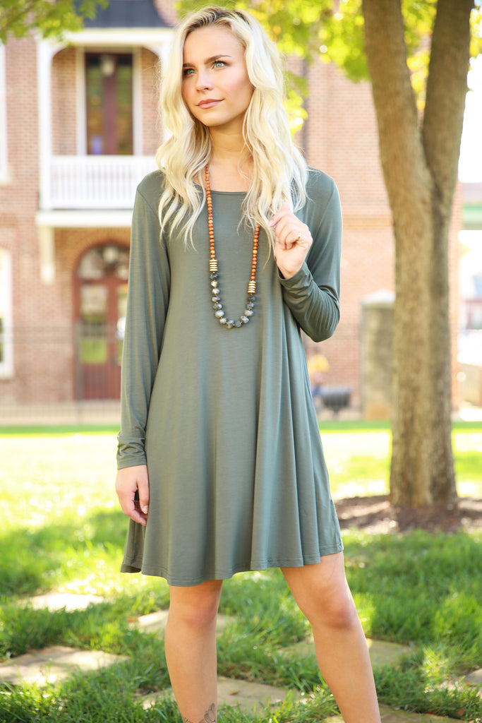 Piko Trapeze Dress - Army , shirt - LOVE JUNE, Love June Boutique  - 2