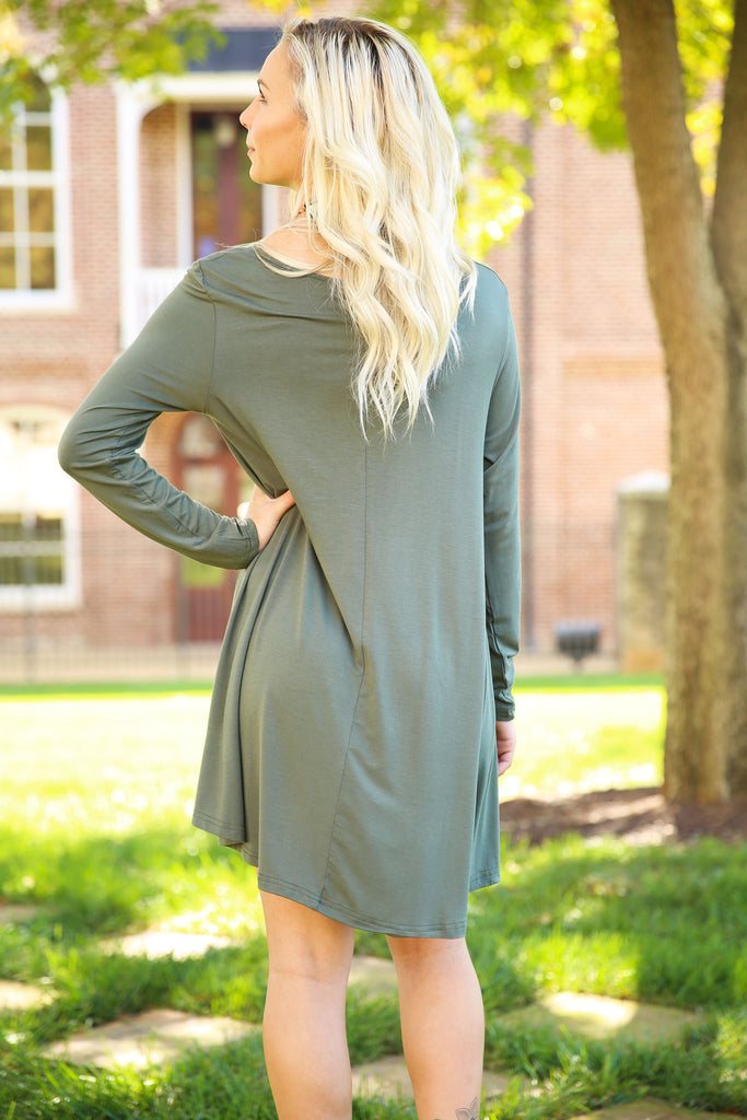 Piko Trapeze Dress - Army , shirt - LOVE JUNE, Love June Boutique  - 3