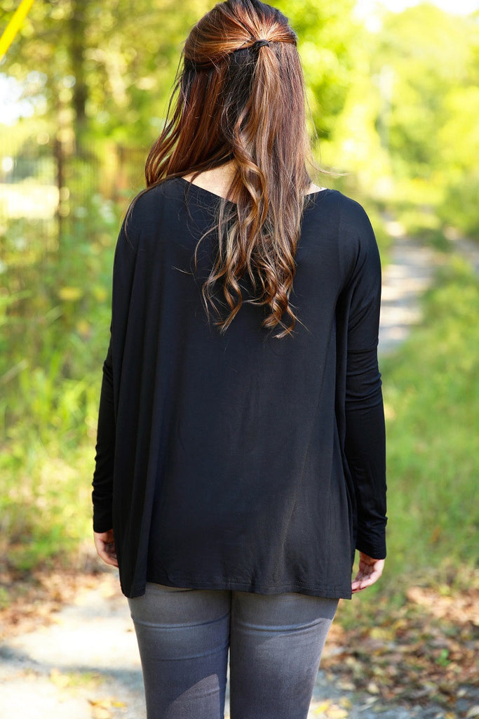 Piko Top - Black , shirt - Love June Boutique, Love June Boutique  - 2