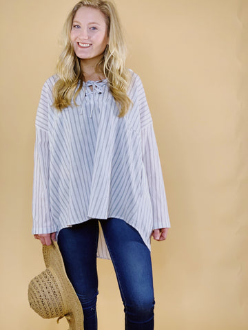 Savannah Ribbed One Shoulder Button Down Top