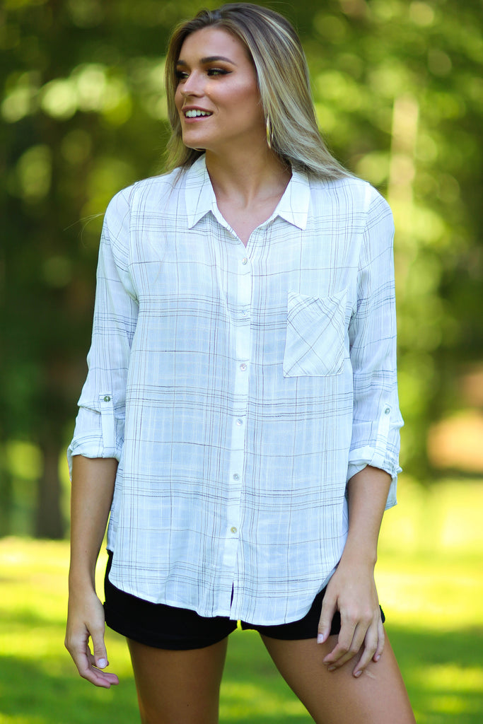 Becca ivory plaid button up top