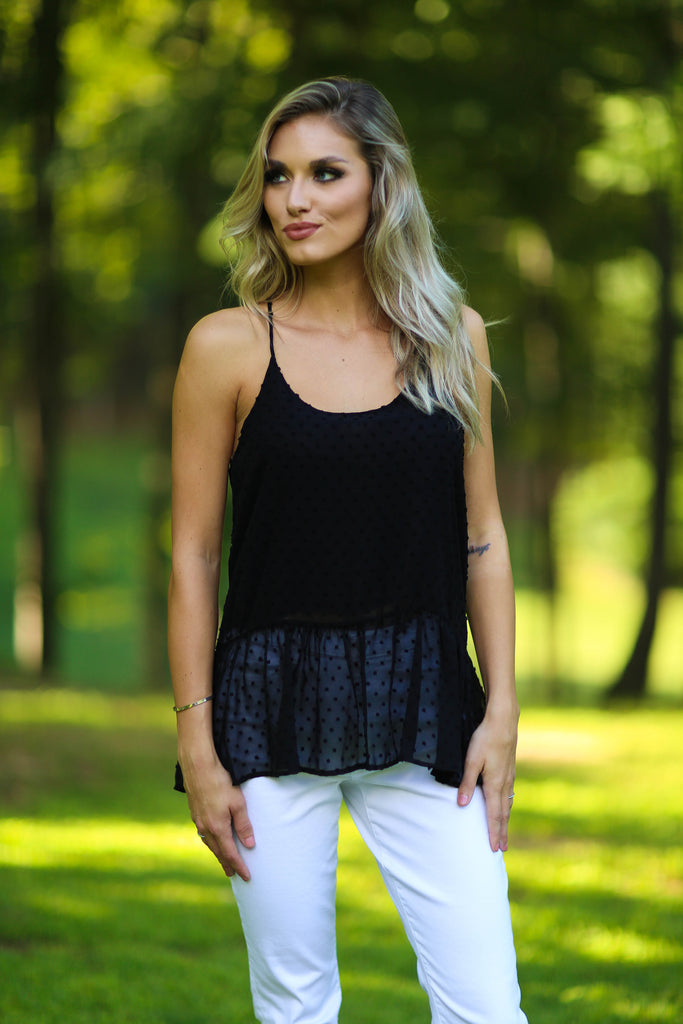Natalie sleeveless peplum top - black