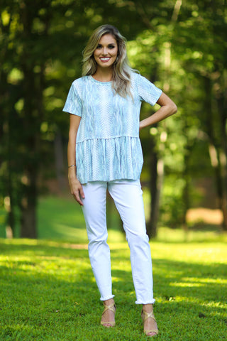 Taylor keyhole button smock top