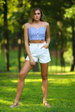 Kelly vintage wash denim shorts - white