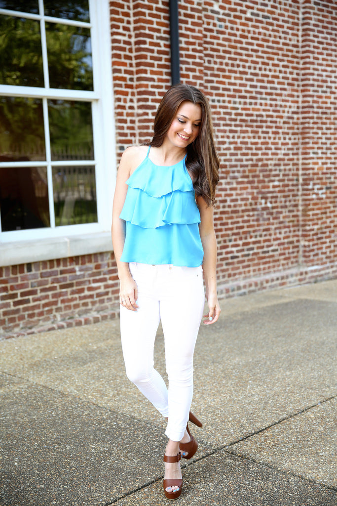layered beauty top - blue , shirt - LOVE JUNE, Love June Boutique  - 1