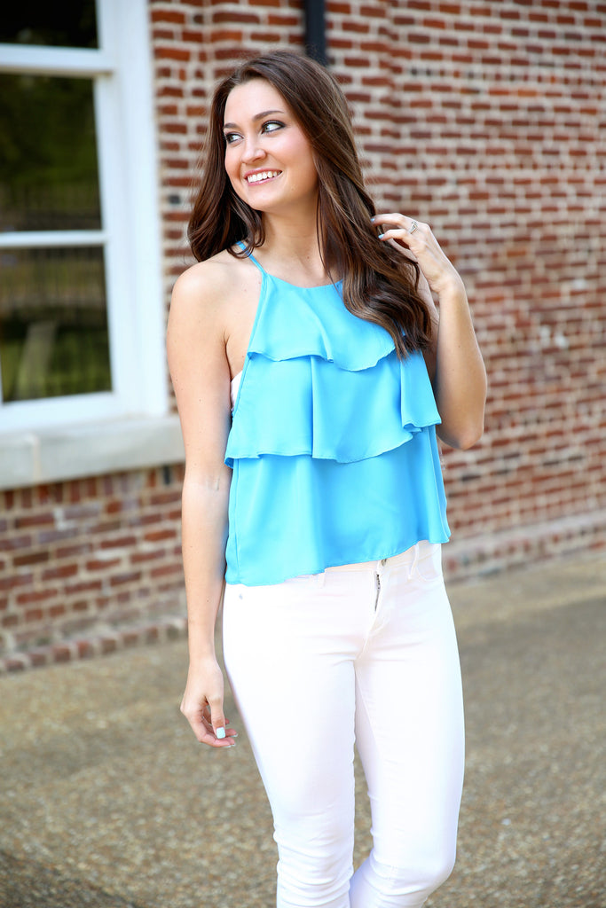 layered beauty top - blue , shirt - LOVE JUNE, Love June Boutique  - 2