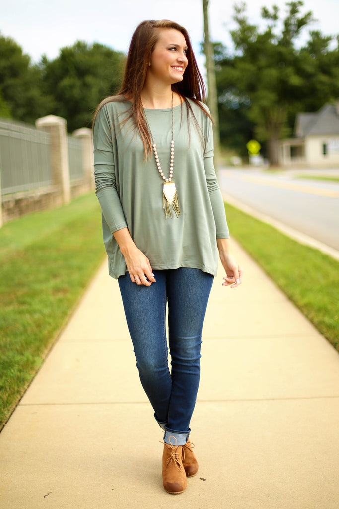 Piko Top - Olive , shirt - Love June Boutique, Love June Boutique