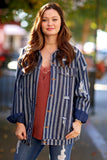 Meredith Striped and Distressed Button Up Denim Jacket