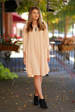 Molly 3/4 Round Hem Dress- Sand