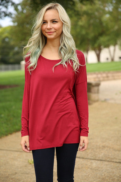 Piko top - Wine , Dress - Love June Boutique, Love June Boutique  - 3