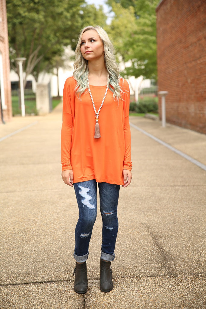 Piko Top - Orange , shirt - Love June Boutique, Love June Boutique  - 2