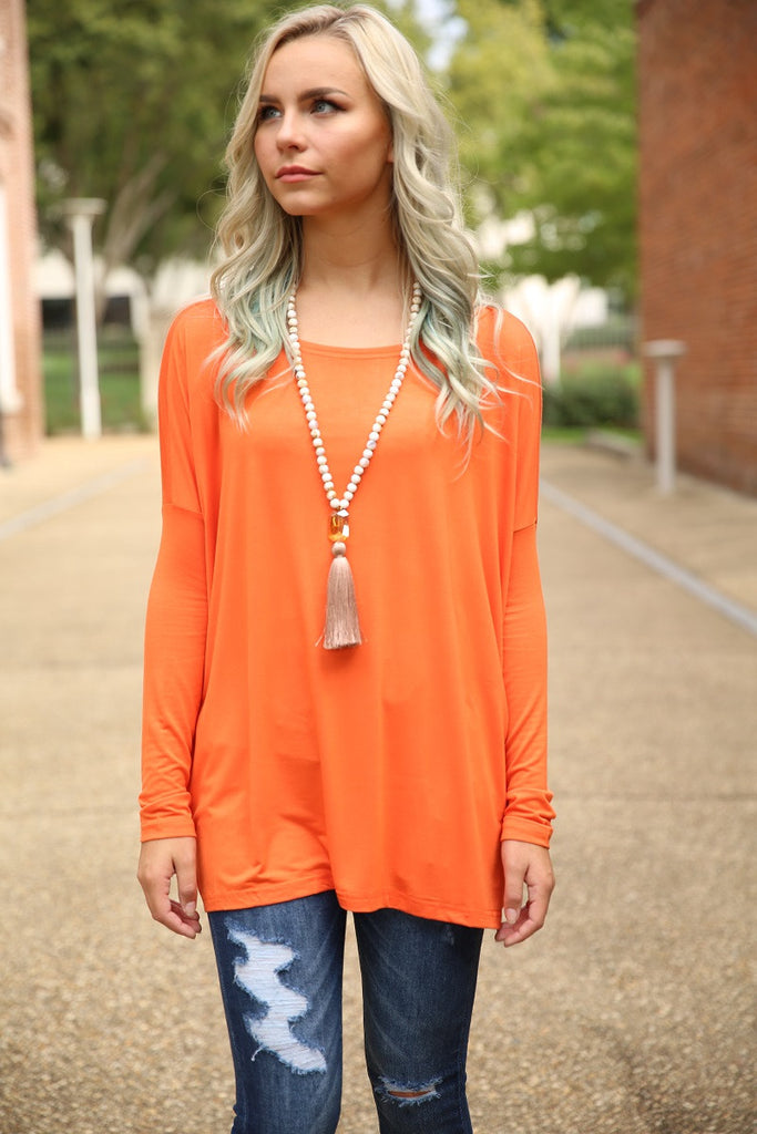 Piko Top - Orange , shirt - Love June Boutique, Love June Boutique  - 1