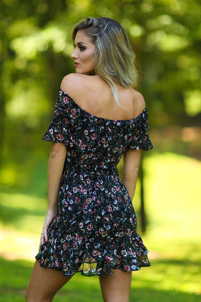 Sadie Floral Dress with Off The Shoulder Sleeves