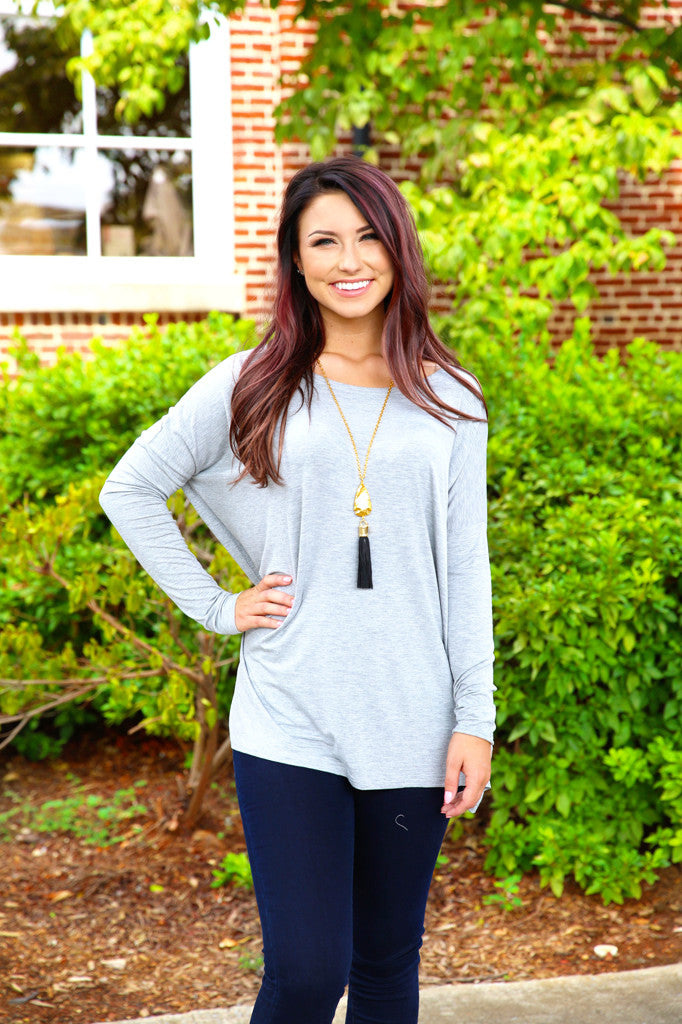 Piko top - Heather Grey ,  - Love June Boutique, Love June Boutique