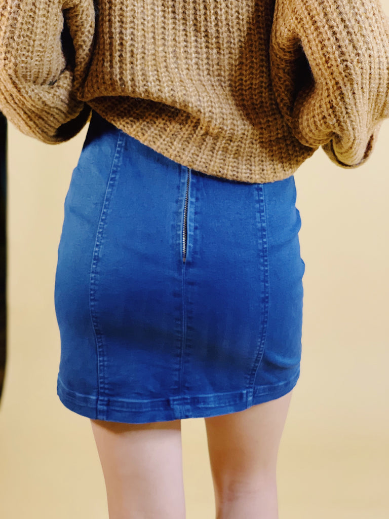 Mia High Waist Panel Denim Skirt