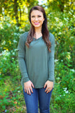 Piko Top - Army , shirt - Love June Boutique, Love June Boutique  - 1