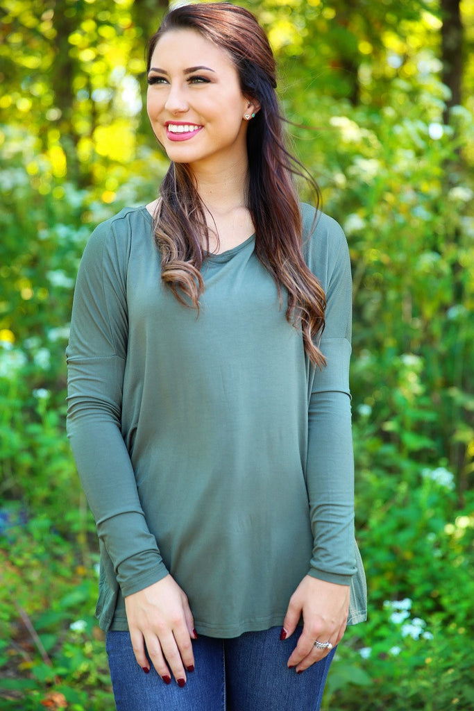 Piko Top - Army , shirt - Love June Boutique, Love June Boutique  - 2