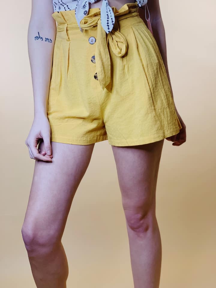 Leah paper bag waist shorts