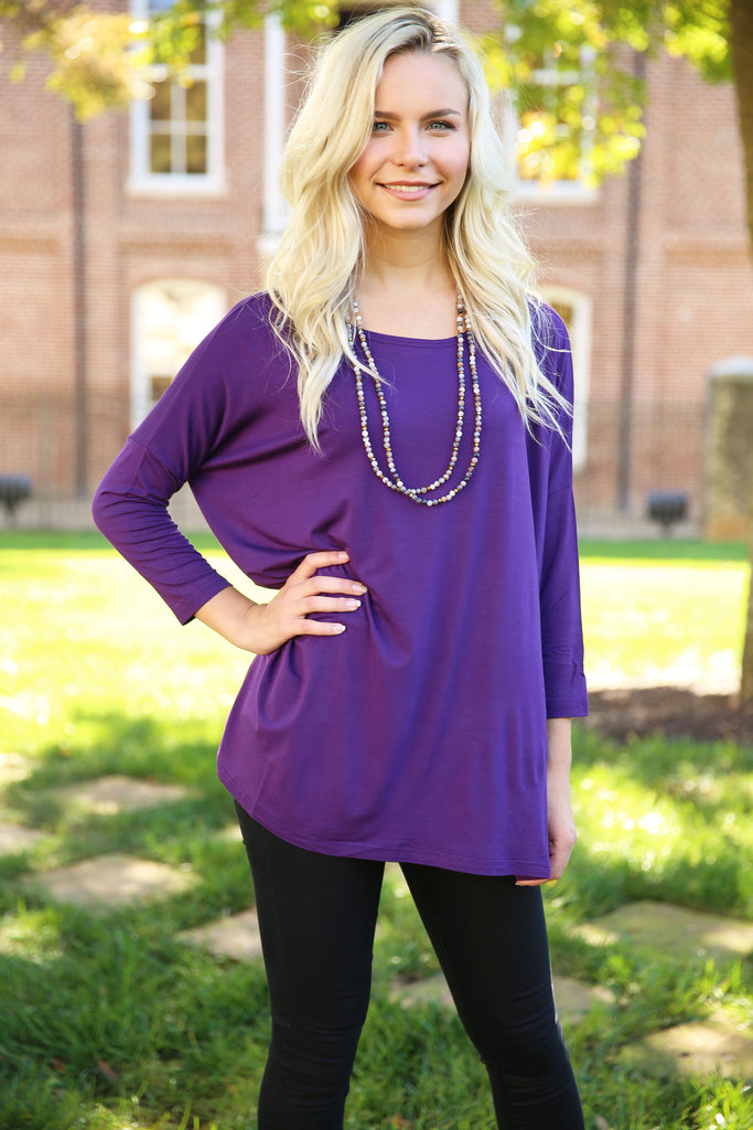 Piko - Top 3/4 sleeve - Dark Purple , shirt - Love June Boutique, Love June Boutique  - 1