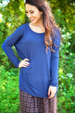 Piko Top - Navy , shirt - Love June Boutique, Love June Boutique  - 1