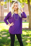 Piko - Top 3/4 sleeve - Dark Purple , shirt - Love June Boutique, Love June Boutique  - 2