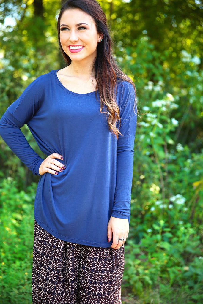 Piko Top - Navy , shirt - Love June Boutique, Love June Boutique  - 2
