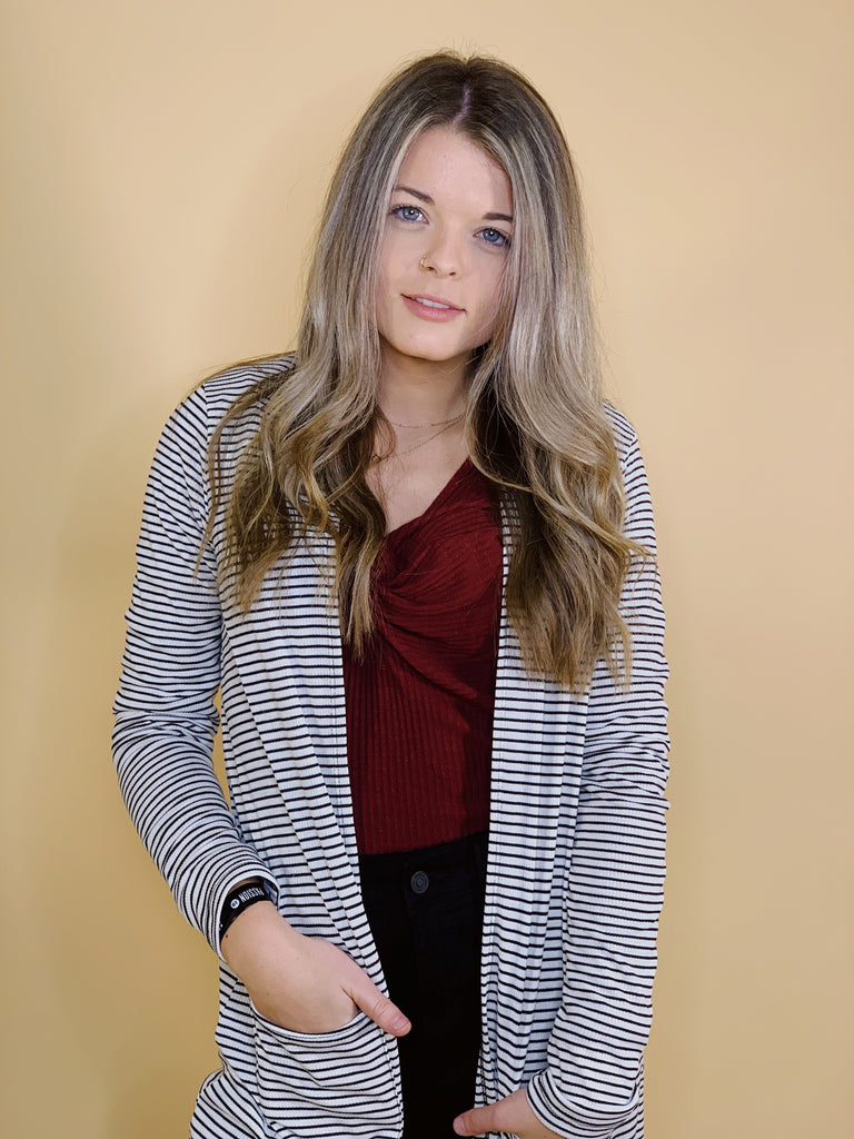 Alexa Striped Long Sleeve Cardigan