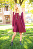 Piko Trapeze Dress - Dark Maroon , shirt - LOVE JUNE, Love June Boutique  - 1