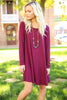 Piko Trapeze Dress - Dark Maroon , shirt - LOVE JUNE, Love June Boutique  - 5