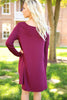 Piko Trapeze Dress - Dark Maroon , shirt - LOVE JUNE, Love June Boutique  - 2