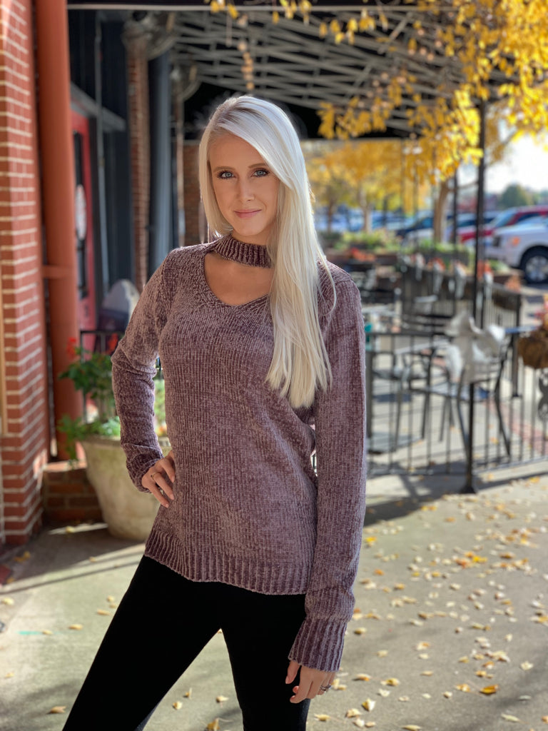 Miranda mock neck chenille sweater