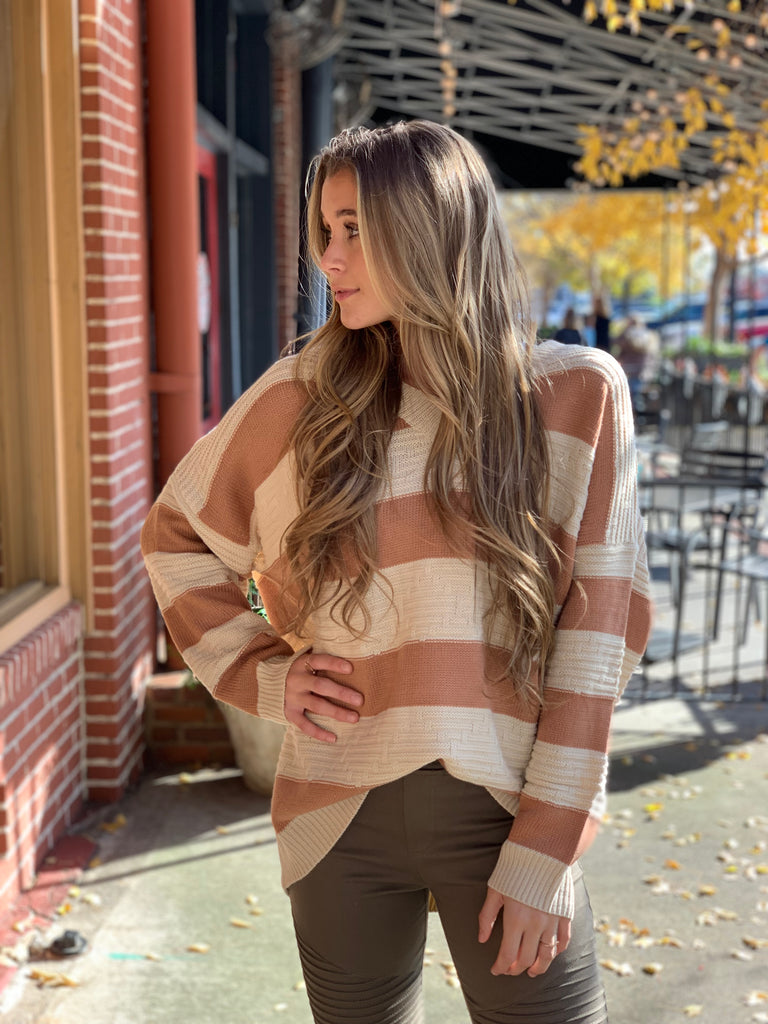 Kristin V-neck stripe pullover sweater