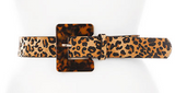 Leopard Belt with Tortoise Buckle