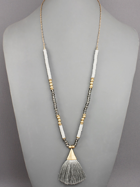Tassel and Bead Necklace- Grey