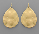 Hammered Teardrop Earrings-Gold